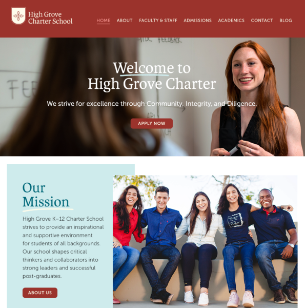 education marketing website homepage