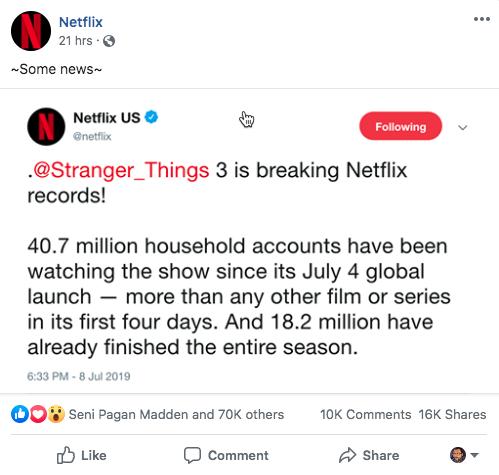 Ejemplo de marketing en redes sociales Facebook de Netflix