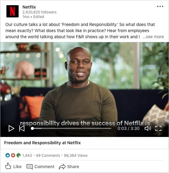 Ejemplo de marketing en redes sociales Netflix