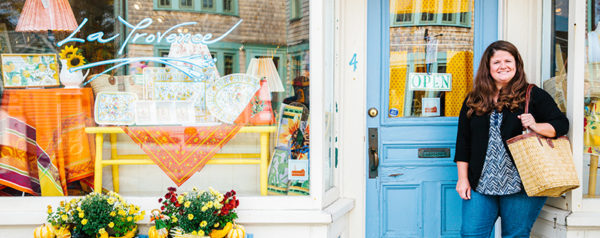 Dawn Noble, owner of La Provence, stands in front of her retail location in Rockport, MA