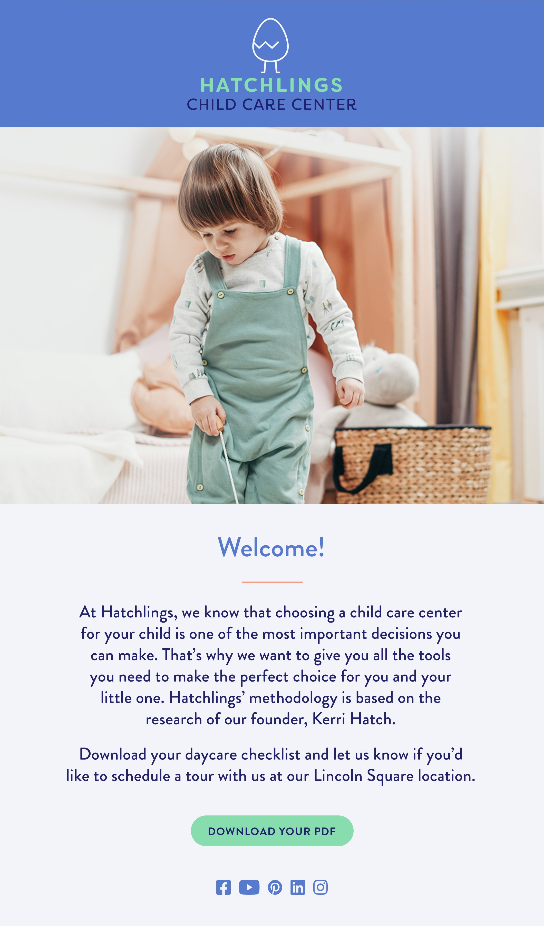 Child Care Marketing Email example