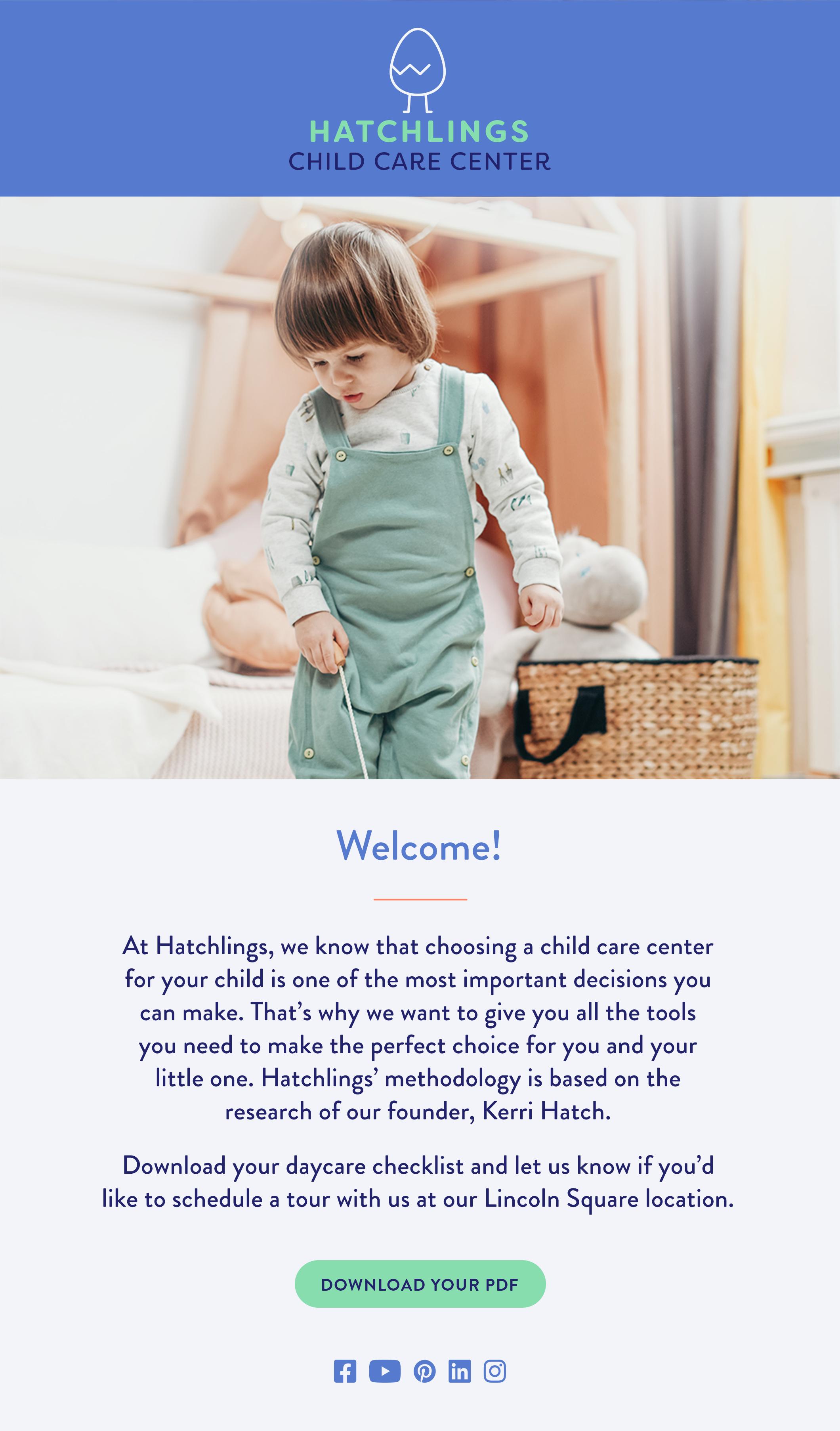 Ejemplo de correo electrónico de marketing de cuidado infantil