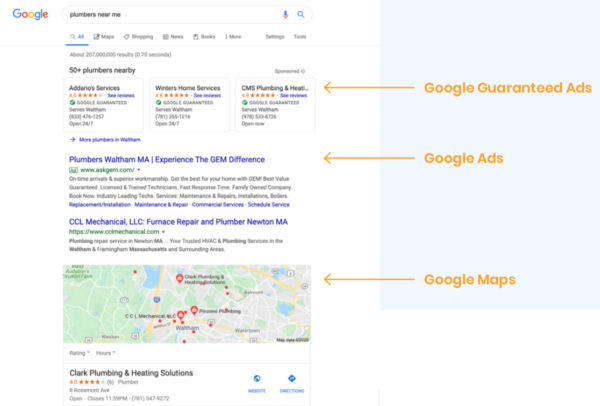 Google search results for for contractors home services and construction