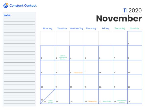 marketing calendar 2020 template