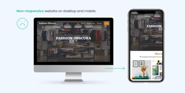 Example of a non-mobile-responsive website