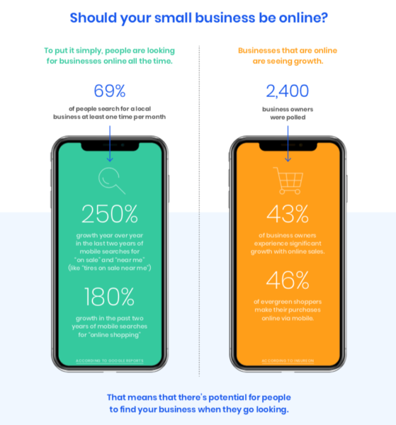 Infographic showing that 69% of people search for businesses online once per month.