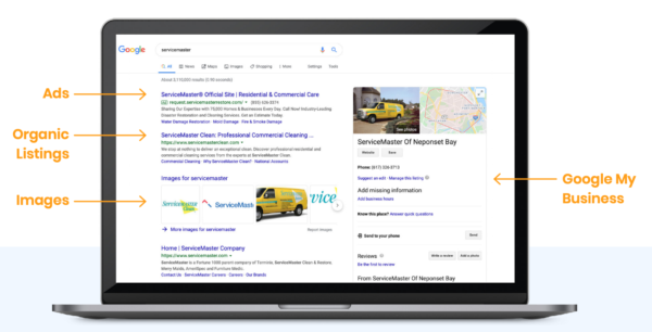 Resultados de búsqueda de Google y anuncios de contratistas y servicios a domicilio