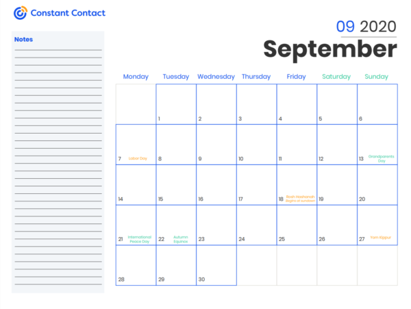 2020 Online Marketing Calendar