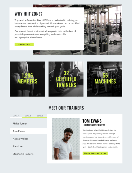 Example About Us page for fitness