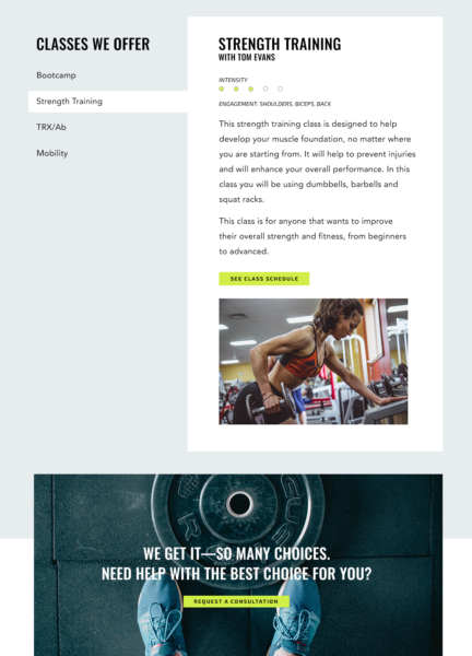 example of a fitness classes page