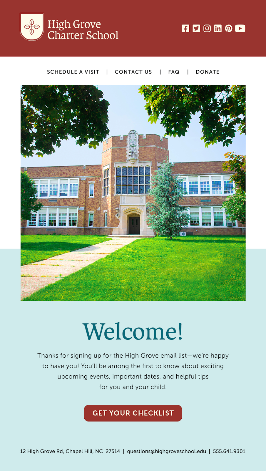 education email marketing welcome example