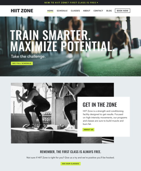 Fitness business homepage example.
