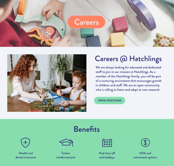 Daycare website careers page