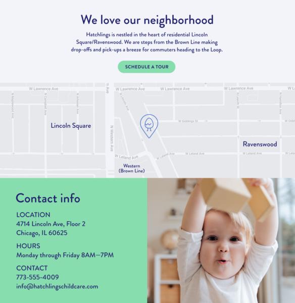 Página de contacto del sitio web de guardería infantil