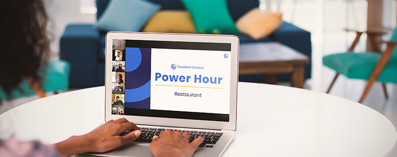 A woman's hands on a laptop keyboard with the Constant Contact Restaurant Power Hour on the screen