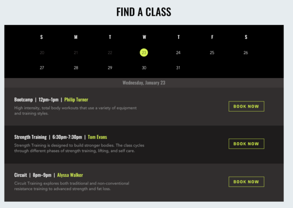 Fitness center or gym class schedule page