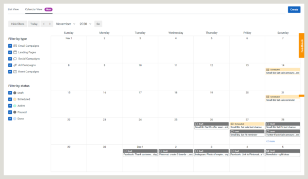 Constant Contact's in-product online marketing calendar showing scheduled three-email series campaign and social media campaign drafts.