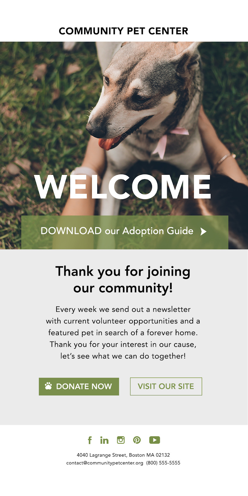 Marketing Automation for Nonprofits - welcome email