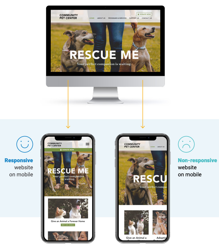 Nonprofit giving - mobile-responsive website example