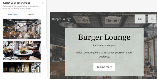 screen shot of using Constant Contact's restaurant Website Builder