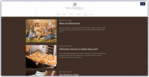 exanoke if a website blog page decorated with fall colors, images and content