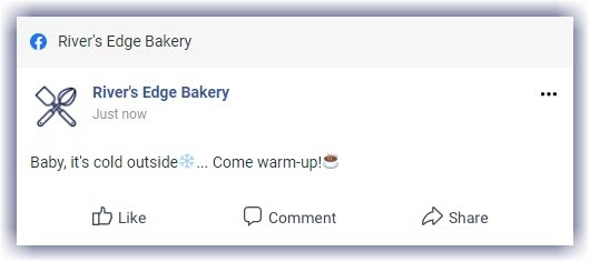 Example Facebook post text with emojis