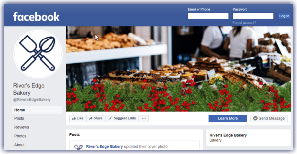 example of a Facebook page with cover image decorated for Christmas with a holly overlay