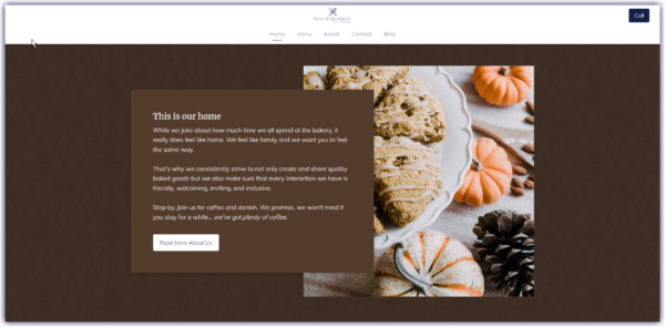 Example of a website page decorated for the fall with autumnal colors and imagery