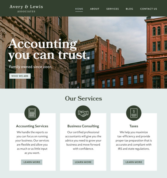 Insurance website builder homepage