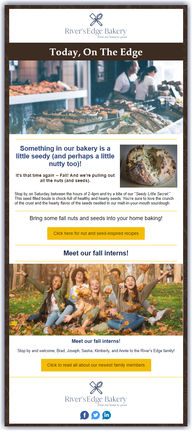 Example of how to decorate an email template for autumn with browns and yellows