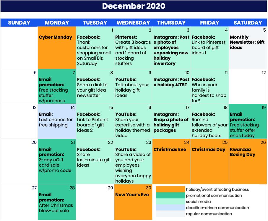 Example social media holiday calendar