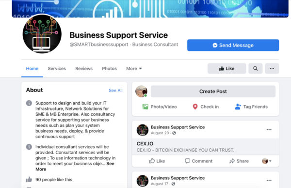 example facebook business page