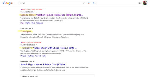 content marketing for travel companies SERP
