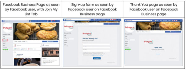 example of email sign-up on Facebook