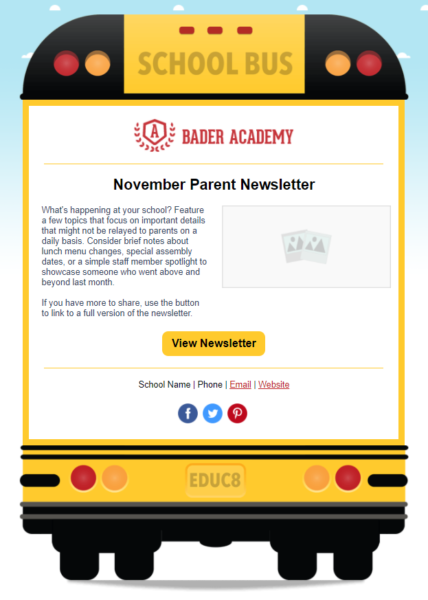 Constant Contact daycare newsletter template