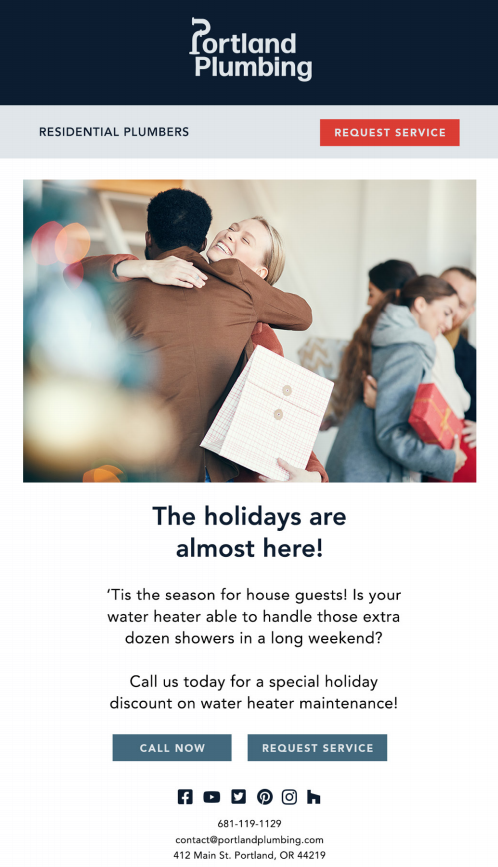 example of plumber marketing holiday email