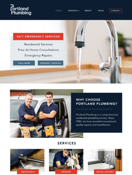 example of a website for plumber marketing