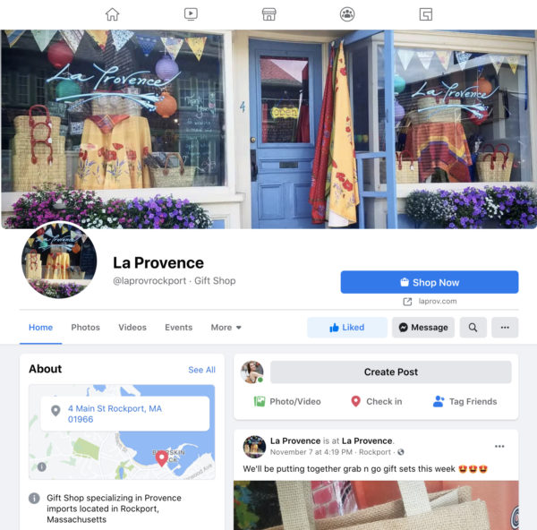 A screenshot of the Facebook Page for La Provence in Rockport, MA