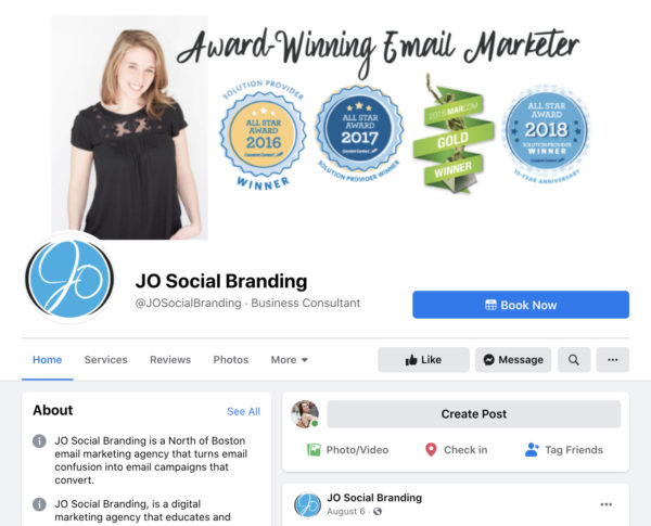 A screenshot of the Facebook Page for JO Social Branding