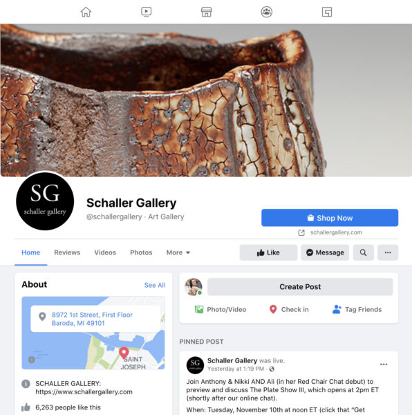A screenshot of the Facebook Page for Schaller Gallery