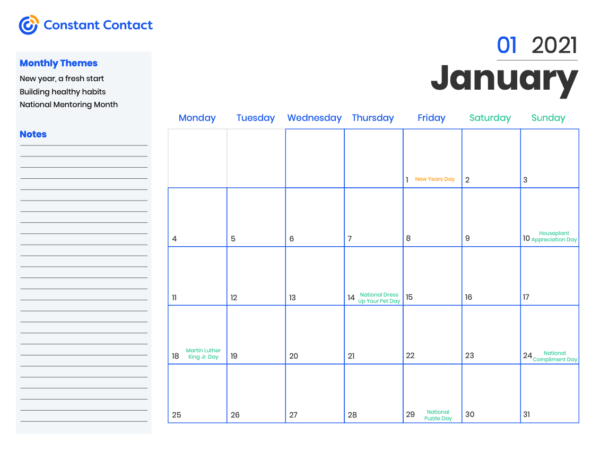 marketing calendar 2021 template