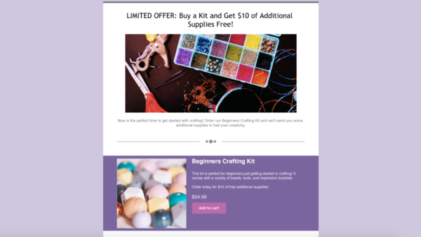 landing page for promotion