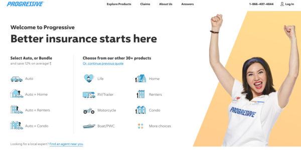 Progressive's homepage.