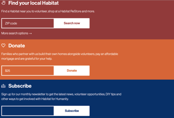Habitat for Humanity has a subscribe option on their website