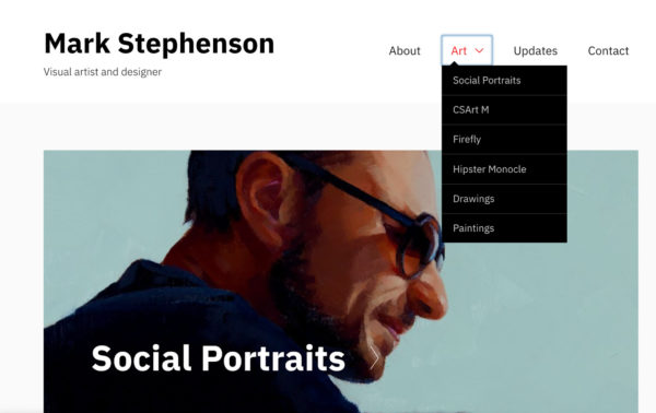 Artist website example of segmenting a portfolio - Artist: Mark Stephenson