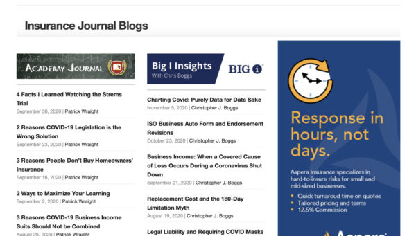 read insurance journal blogs for blog post ideas that can lead to free insurance leads