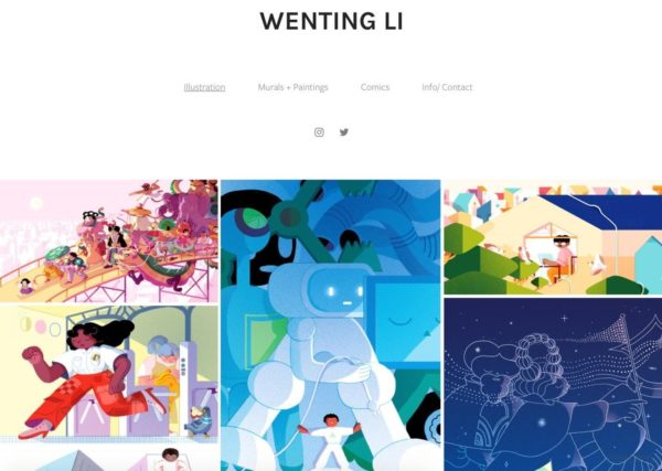 Artist website example  of minimalistic design - Artist: Wenting Li
