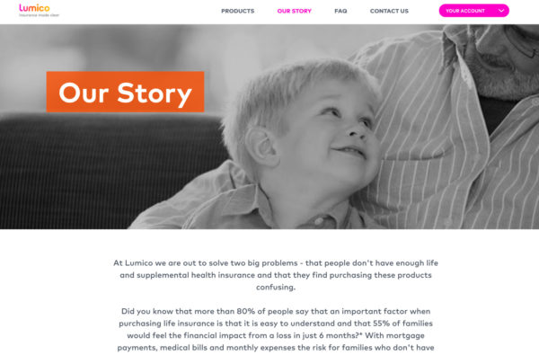 "Lumico's ""Our Story"" page"