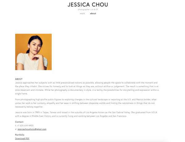 artist website example of telling the artist's story on an about page - Artist: Jessica Chou