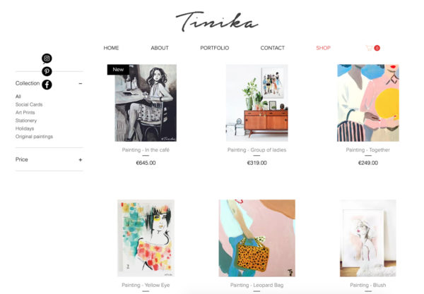 Artist website example - Artist: Tinneke De Block
